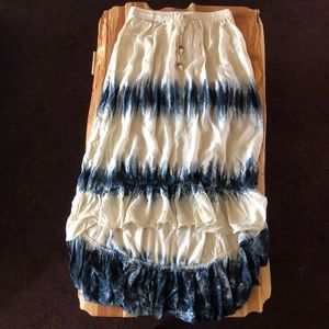 Blue and white skirt with tie dye accents